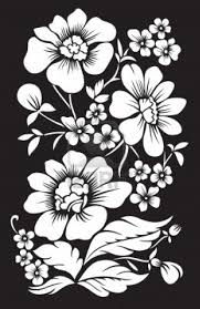 black background with white decor flowers modern wall decor