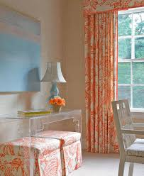 Orange And White Curtains Orange And White Drapes Transitional Den Library Office
