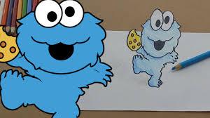 baby cookie monster eating cookies nom nom yum yum 3d art trick