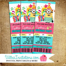 despicable me birthday ticket pass photo invitations printable or