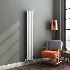 1600 x 240 mm white vertical oval column radiator single panel