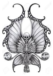 design tattoo hand skull fairy tattoo hand drawing on paper stock photo picture