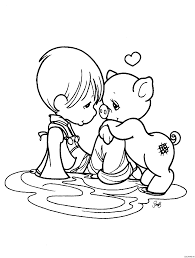 awesome precious moment coloring pages for kids boy and pig page