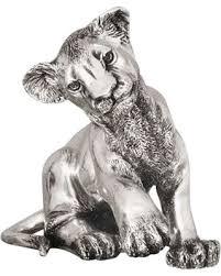 silver lion statue deals on silver lion cub sculpture sitting a59