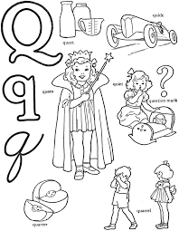 words from q words of q alphabet coloring pages quill and quack