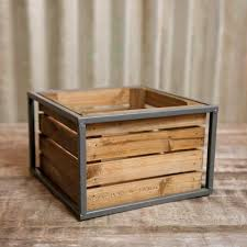 Metal Planter Box by Table Decor Wood Planter Box Metal Frame Industrial Crate 7 75 X