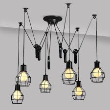 Vintage Island Lighting Black Painting Chandeliers Creative Personality Kitchen Island