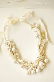 pearl ribbon chunky pearl ribbon necklace wedding jewelry twisted ivory