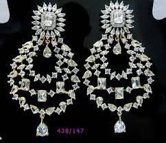 heavy diamond earrings heavy and exclusive american diamond earrings for more sapna