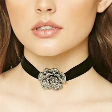 black choker necklace aliexpress images Simple black rope chain big flower chokers necklaces for women jpg