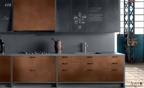 meuble cuisine industriel cuisine type industriel mobilier cuivre bois brut béton ciré