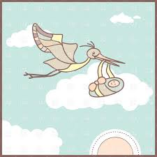 flying stork with newborn baby greeting card vector clipart