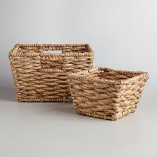 wicker basket with leather handles natural water hyacinth betty baskets world market