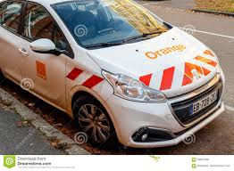 france peugeot peugeot white car with orange telecom logo editorial stock photo