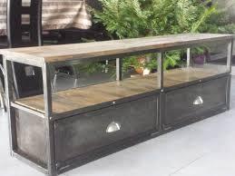 meubles et rangements meuble industriel tv metal bois vi