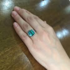 2 60tcw art deco step cut emerald and diamond trilogy ring