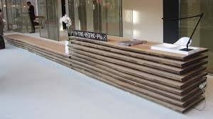 creative wood reception desk design for hotel or exhibition nytexas