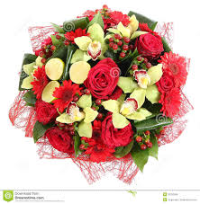 floral compositions of red roses red gerberas and orchids