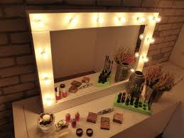 bedroom interesting mirrored makeup vanity set with lights and awesome white makeup vanity set with lights and potted plant for elegant bedroom decor ideas
