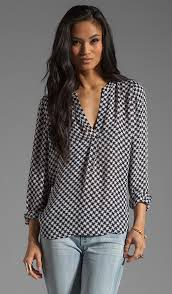 houndstooth blouse joie peterson b houndstooth blouse in navy revolve