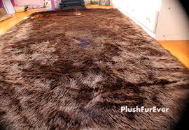 faux fur rug chocolate brown black white large rectangle shape