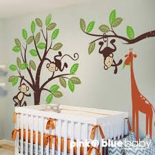 Nursery Monkey Wall Decals Monkey And Giraffe Nursery Wall Decal Pinknbluebaby On