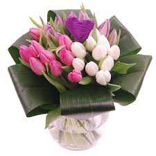 tulip bouquets tulip fresh flower bouquet white and pink tulips