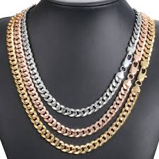 rose gold men necklace images Hammered curb cuban 9mm womens mens necklace chain rose yellow JPG