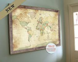 Create A Map With Pins Vintage Push Pin Map World Map Framed Vintage World Map