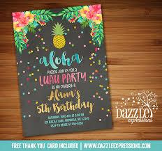 printable pineapple luau chalkboard birthday invitation hawaiian