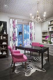 Pink Trellis Curtains Black And White Office With Pink Accents Home Office Ideas For