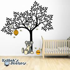 teddy bear bees and tree vinyl wall decal
