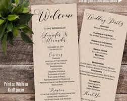 customized wedding programs wedding programs etsy