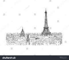 paris cityscape eiffel tower sketch your stock vector 325078718