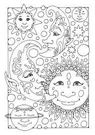 difficult coloring pages for adults coloring page sun moon and