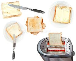 Buttered Bread In Toaster Bread And Butter Sandwiches And Toaster Isolated Stock Image