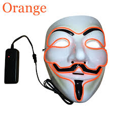Halloween Light Up Costumes Led Light Up Guy Fawkes For Vendetta Mask El Wire Mask Edm Fawkes