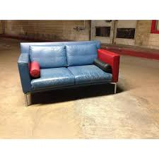 vintage 1980s italian blue leather sofa chairish