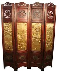 black lacquer screen 4 panel room divider large japanese chinese