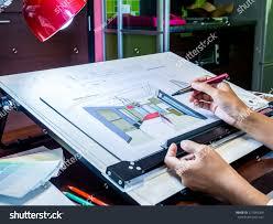 interior designers hand working illustration sketch stock photo