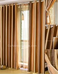 Gold Color Curtains Decorations Striped Gold Color Polyester Insulated Thermal