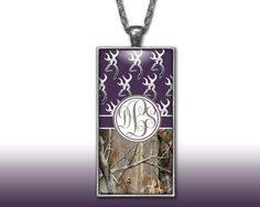 Monogram Pendant Necklace With Initials Pink Chevron Camo Monogram Pendant Charm Necklace Personalized