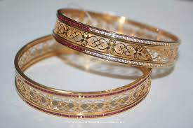 bracelet gold white gold images Gold bangles with white red stones south india jewels jpg