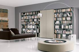 modern home library design with beautiful bookshelf ideas and a