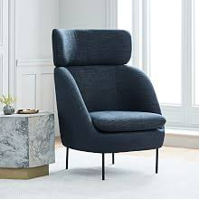 Modern High Back Wing Chair Living Room Chairs West Elm