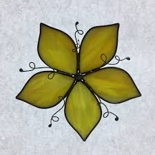 stained glass yellow flower suncatcher stain glass flower