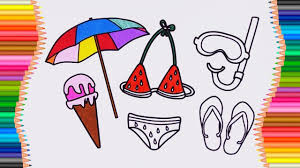 how to draw beach accessories coloring pages swimsuit umbrella