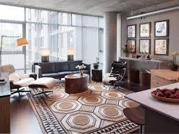 mid century modern living room furniture hardwood flooring gray