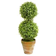 15 u201d light green decorative two tier boxwood topiary christmas