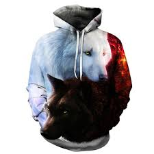 coolgear yin yang wolves unisex hoodie cool colony